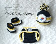 Pittsburgh Steelers Football Baby Crochet pom-pom hat, diaper cover, booties