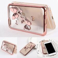 Shockproof Butterfly Glossy Silicone Rubber Soft Case Cover For iPhone X 8 7 6S