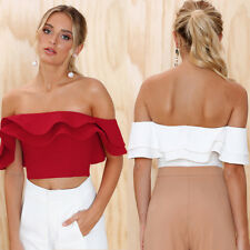 UK Womens Falbala Backless Casual Midriff Sexy Pullover 2018 Spring Novelty Tops