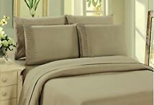 Bamboo Sheet Set 6 Piece With 4 Pillowcases Deep Pocket Soft Wrinkle Free Taupe