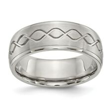 Stainless Steel Scroll Design Brushed & Polished 8mm Ridged Edge Band