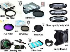 NP34 67mm Bundle Adapter UV CPL FLD ND4 Filter Bag Set Lens Hood Cap For Canon