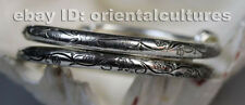 Tribal exotic ethnic chinese hand-carved miao silver bracelet (pair)