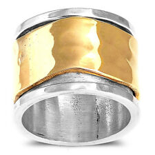 Wide Band Solid 925 Sterling Silver Spinner Ring 2 Tone Golden Spin Choose Size