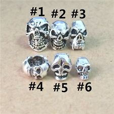 2 Sterling Silver Skull Beads 925 Silver Large Hole 3-Sided Straight Hole Tiny