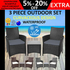New 3pc WICKER OUTDOOR DINING TABLE CHAIR SET Patio Garden Furniture 2 Setting