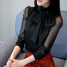 Lady Scarf Tie Neck Shirts Long Sleeve Semi Transparent Work Fashion Blouse Tops
