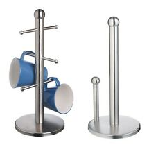 Stylish Stainless Steel Silver Kitchen Towel Roll Holder & 6-Mug Tree Stand Set