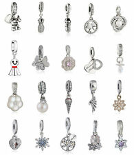 Genuine 925 Sterling Silver Charm Beads Pave Clear CZ Pendant Bead Dangle Charms