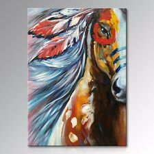 Framed Handmade Large Size Abstract Indian Horse Portrait Oil Painting on Canvas
