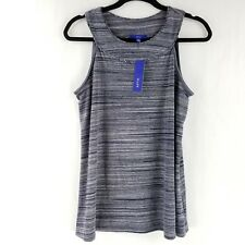 Apt 9 Womens Sleeveless Shirt Top Blouse Blue Gray Striped size Small, Large NWT