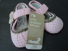 GIRLS MOTHERCARE PINK MARY JANE STYLE NON-SLIP SHOES, SZ 4,EUR,13 CM'S SOLES