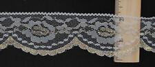 "Lace- Flat -Woven - 2"" w x 3 7/8yd - White / Gold Metallic Floral Scalloped Edge"
