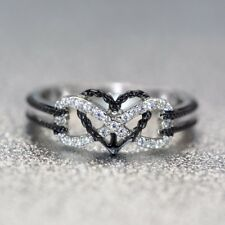 Heart White Topaz 925 Silver Women Jewelry Wedding Engagement Ring Sz 6-10
