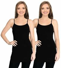 Simlu Cami Camisoles Tank Tops For Women Adjustable Spaghetti Strap Tunic Long