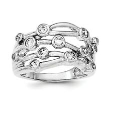 Sterling Silver Rhodium-plated Polished CZ Criss Cross Ring