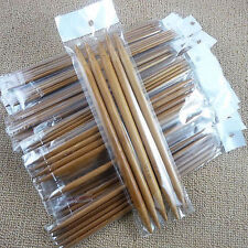 CARBONIZED SET 5 DOUBLE POINTED SMOOTH  BAMBOO KNITTING NEEDLES SIZES 2MM-10MM,