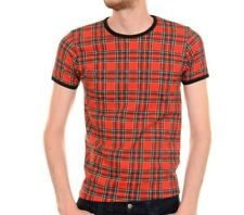 Mens 60s Indie Retro Hipster Rock Red Tartan Plaid Skinny Fit T shirt