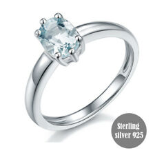Sterling Silver 925 Natural Aquamarine 1.08ct Fine Engagement Wedding Ring