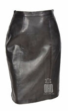 """Ladies Real Leather Knee Length 21""""-25 inch Pencil Skirt Club Office Casual 1102"""