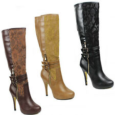 WOMENS CONCEALED PLATFORM HIGH STILETTO HEEL KNEE HIGH BOOTS LADIES SHOES SIZE 3