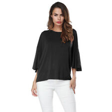Women's Round Neck Casual Loose Fit Tunic Shirt 3/4 Dolman Sleeve Blouse Top
