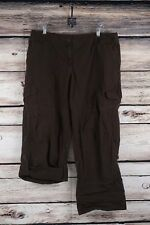 Ann Taylor Loft Julie Size 14 Cargo Pants Brown Roll Up Ankle