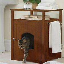 Cat Kitty Litter Box Night Stand Pet Bed House Furniture Cover Dog Enclosed Loo