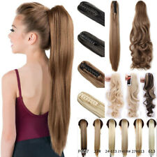 US Long Layered Ponytail Clip in Hair Extension Claw On Hair Piece Straight Wavy