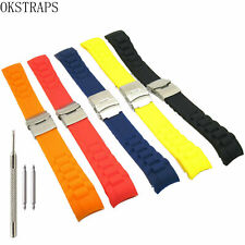18 20 22mm Deployment Clasp Silicone Rubber Watch Band Curved End Strap