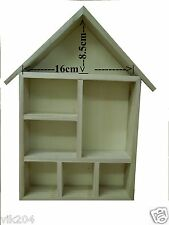 3 X  DOLL HOUSE SHAPED SHELVING  DECORATE SHADOW BOX ART CRAFT 7 COMPARTMENTS