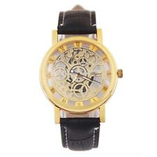 Mens Luxury Skeleton Dial Mechanical Gear Gold or Silver Tone Wrist Watch New