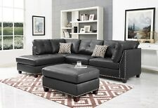 3pc Faux Leather/Linen Sectional Modern Sofa Couch Set Chaise Ottoman 3 pc