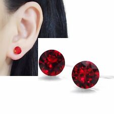 Invisible Clip on Stud Earrings Red Swarovski Crystal Rhinestone Clip-ons