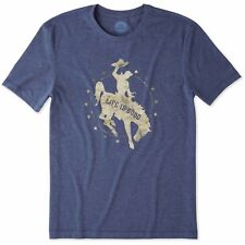Life is Good. Mens Cool Tee: Rodeo Cowboy - Darkest Blue