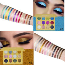 12 Color Glitter Eye Shadow Palette Highly Shimmer Diamond Pigment Eyeshadow