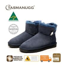 Mini SWAROVSKI Crystal Button UGG Boots, Australian Made,Premium Sheepskin, Navy