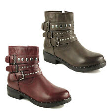 WOMENS MILITARY COMBAT STUDDED BUCKLE ARMY BIKER LADIES ANKLE BOOTS NEW SIZE 3-8