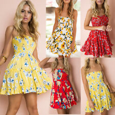 UK Womens Ruffles Sun Smock Floral Jumper Summer Bandeau Beach Ladies Mini Dress