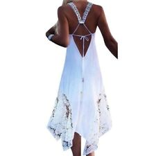 Women Spaghetti Strap Hollow Out White Pink Color Lace Decorated Maxi Dress