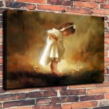 HD Print Little Girl with White Dress Art Home Wall Decor Oil Painting on Canvas