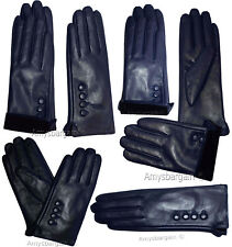 Leather gloves Genuine leather women's Blue winter gloves S, M, L and XL Br New*