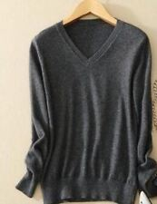 Women Dark Grey Color V-Neck Knitted Slim Fit Winter Wear Sweater