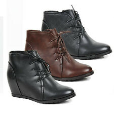 WOMENS HIDDEN WEDGE HEEL LACE UP ANKLE BOOTS BOOTIES LADIES SHOES NEW SIZE 3-8