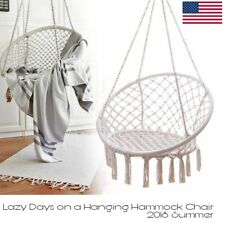 Macrame Hammock Hanging Chair Home Garden Relaxing Reading Chair Cotton Rope USA