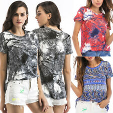 UK Womens Casual Paisley Blouse Sweatshirt Short Sleeve Boho Tee Ladies Tops