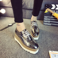 Womens Bling Wedge Heels Lace Up Sneakers Platform Creepers Fashion Shoes New