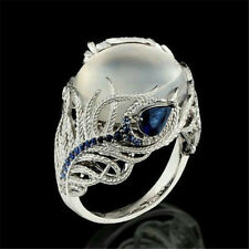 925 Silver Fashion Jewelry Moonstone CZ Wedding Engagement Feather Ring Size 6-1
