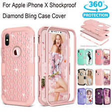 For Apple iPhone X/10 Diamond Bling Hybrid Heavy Duty Shockproof Hard Case Cover