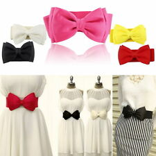 Fashion Women Elastic Wide Stretch Buckle Bowknot Bow Waistband Waist Belt AL